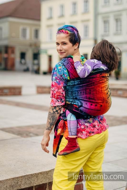 Baby Wrap, Jacquard Weave (100% cotton) - SYMPHONY RAINBOW DARK - size M #babywearing