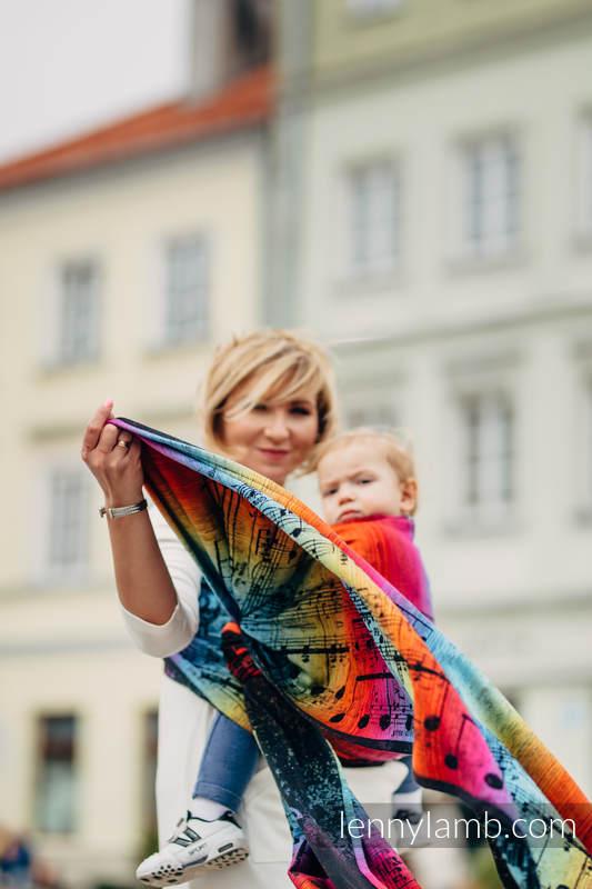 Baby Wrap, Jacquard Weave (100% cotton) - SYMPHONY RAINBOW DARK - size S #babywearing