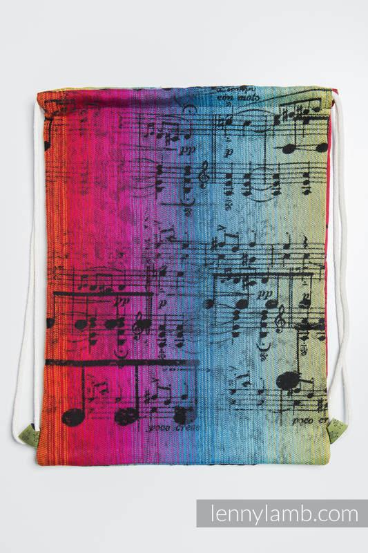 Mochila portaobjetos hecha de tejido de fular (100% algodón) - SYMPHONY RAINBOW DARK - talla estándar 32cmx43cm #babywearing