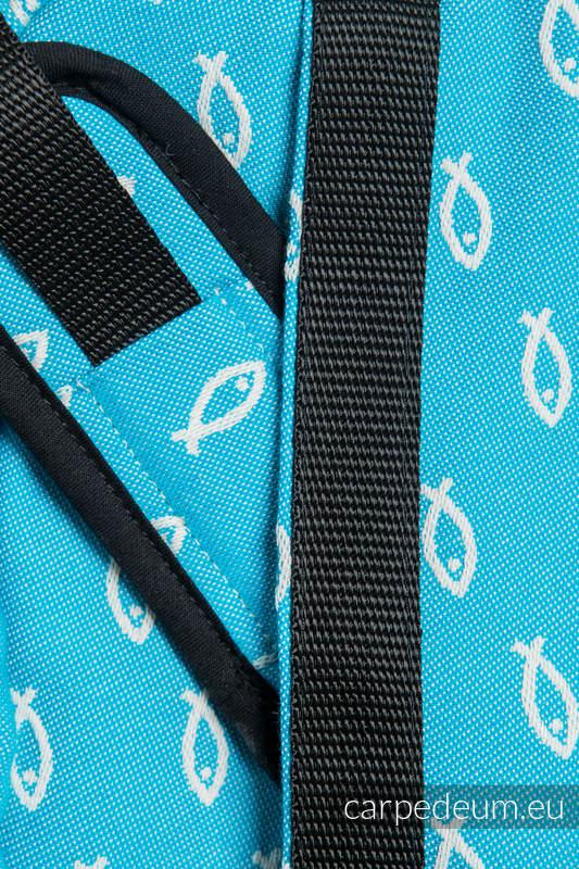 Torba na ramię z materiału żakardowego, (100% bawełna) - ICHTYS - NIEBIESKI #babywearing
