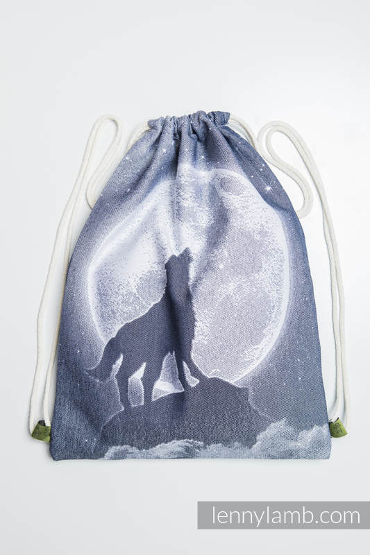 Sackpack made of wrap fabric (100% cotton) - MOONLIGHT WOLF - standard size 32cmx43cm #babywearing