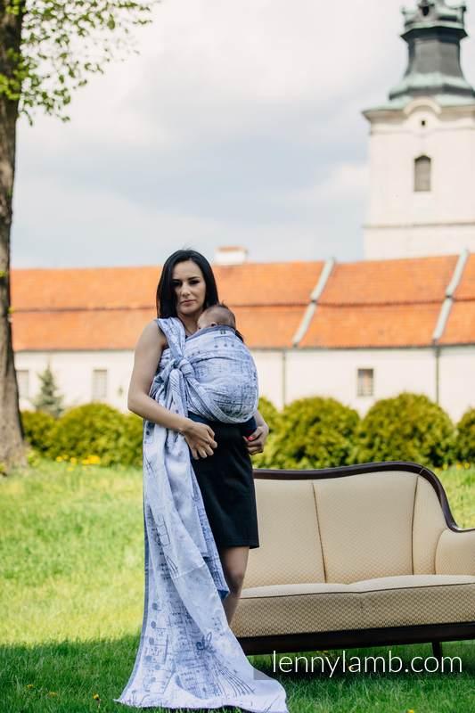 Żakardowa chusta do noszenia dzieci, 60% Bawełna 28% Len 12% Jedwab Tussah - KRÓLEWSKA SYMFONIA - rozmiar XL #babywearing
