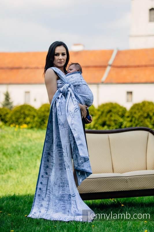 Żakardowa chusta do noszenia dzieci, 60% Bawełna 28% Len 12% Jedwab Tussah - KRÓLEWSKA SYMFONIA - rozmiar M #babywearing