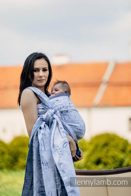 Żakardowa chusta do noszenia dzieci, 60% Bawełna 28% Len 12% Jedwab Tussah - KRÓLEWSKA SYMFONIA - rozmiar L #babywearing