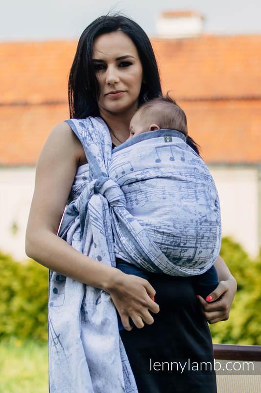 Żakardowa chusta do noszenia dzieci, 60% Bawełna 28% Len 12% Jedwab Tussah - KRÓLEWSKA SYMFONIA - rozmiar S #babywearing