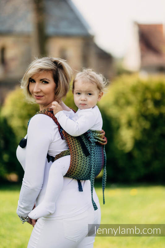 Lenny Buckle Onbuhimo baby carrier, Standard size, jacquard weave (100% cotton) - LITTLE LOVE RAINBOW DARK #babywearing