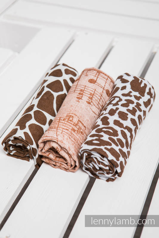 Muslin Square Set - SYMPHONY BROWN & CREAM, CHEETAH BROWN & WHITE, GIRAFFE BROWN & CREAM #babywearing