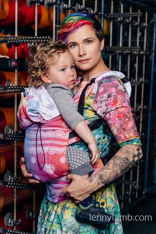 Ergonomische Tragehilfe, Größe Toddler, Jacquardwebung, 100% Baumwolle - RAINBOW LACE - Zweite Generation #babywearing
