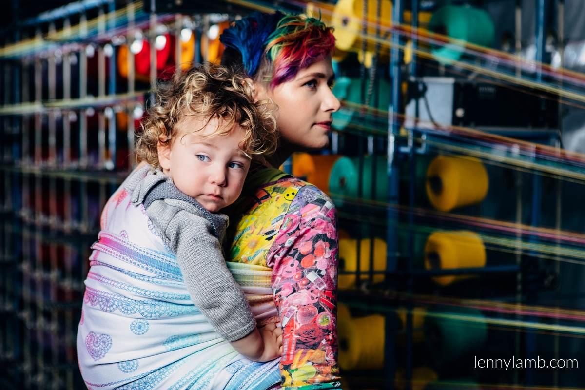 Baby Wrap, Jacquard Weave (100% cotton) - RAINBOW LACE - size XS (grade B) #babywearing
