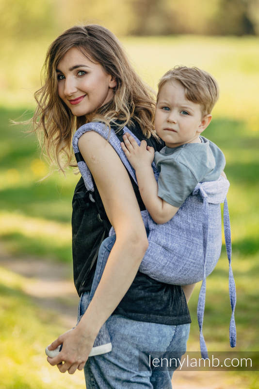 Lenny Buckle Onbuhimo baby carrier, toddler size, jacquard weave (100% cotton) - DENIM BLUE #babywearing