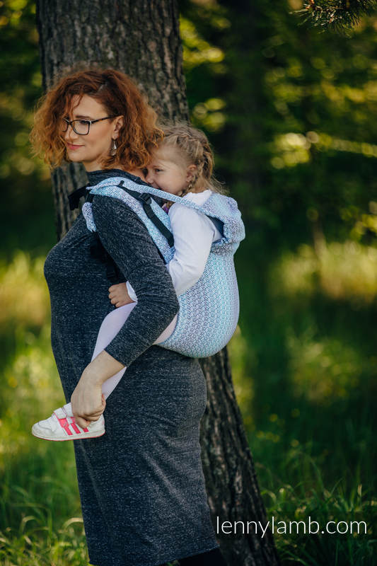 Lenny Buckle Onbuhimo, toddler size, jacquard weave (100% cotton) - Wrap conversion from LITTLE LOVE BREEZE (grade B) #babywearing
