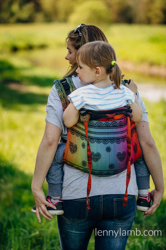 Lenny Buckle Onbuhimo baby carrier, toddler size, jacquard weave (100% cotton) - RAINBOW LACE DARK #babywearing