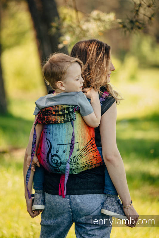 Lenny Buckle Onbuhimo baby carrier, toddler size, jacquard weave (100% cotton) - SYMPHONY RAINBOW DARK #babywearing