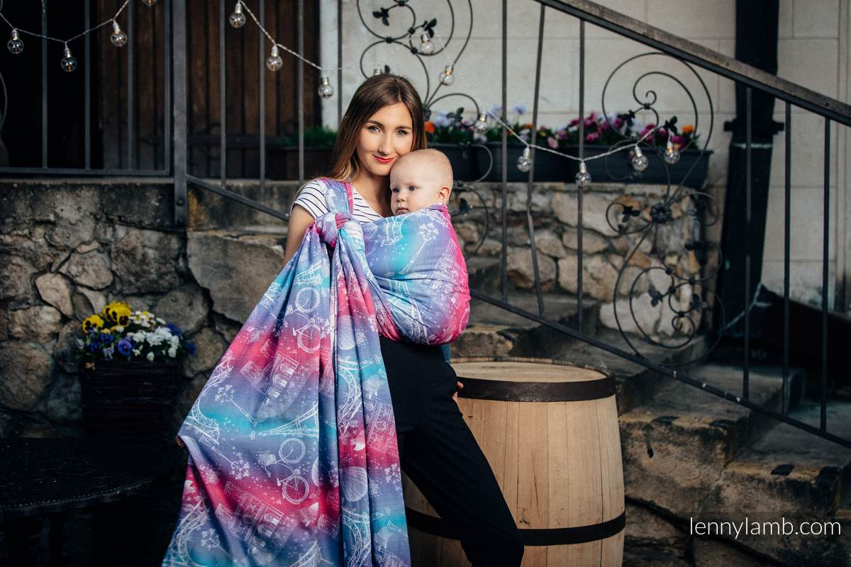 Baby Wrap, Jacquard Weave (100% cotton) - CITY OF LOVE - size XS (grade B) #babywearing