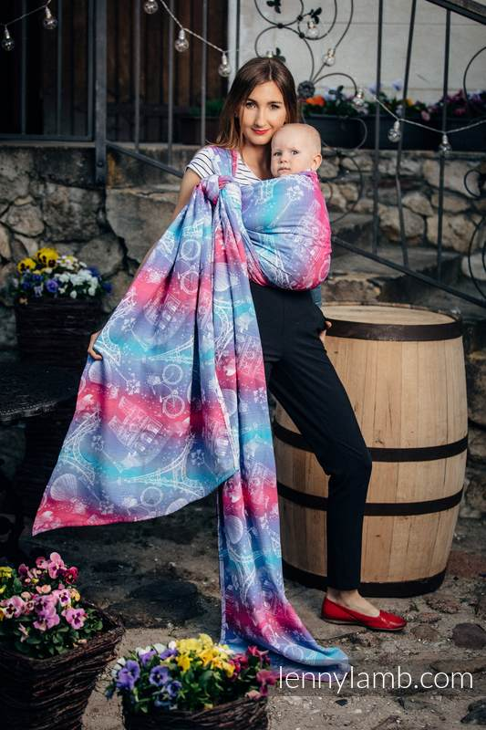 Tragetuch, Jacquardwebung (100% Baumwolle) - CITY OF LOVE - Größe S (grad B) #babywearing