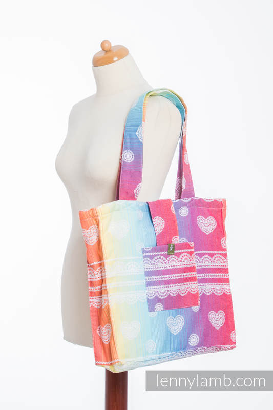 Shoulder bag made of wrap fabric (100% cotton) - RAINBOW LACE - standard size 37cmx37cm (grade B) #babywearing
