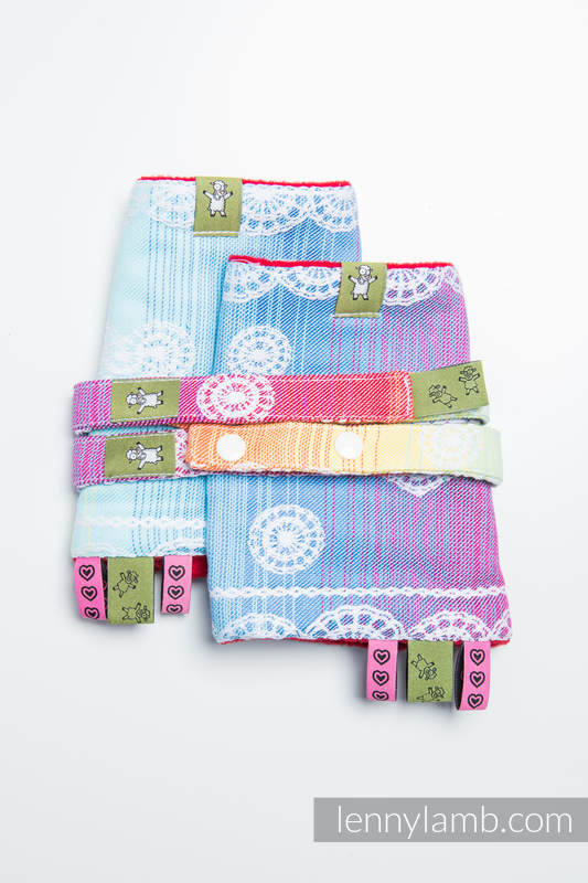 Drool Pads & Reach Straps Set, (60% cotton, 40% polyester) - RAINBOW LACE #babywearing