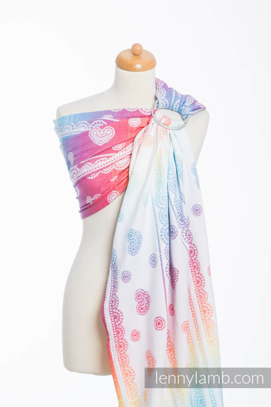Ringsling, Jacquard Weave (100% cotton) - with gathered shoulder - RAINBOW LACE - long 2.1m #babywearing