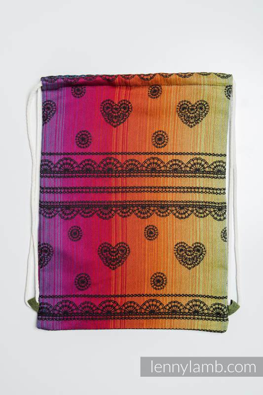 Mochila portaobjetos hecha de tejido de fular (100% algodón) - RAINBOW LACE DARK - talla estándar 32cmx43cm #babywearing