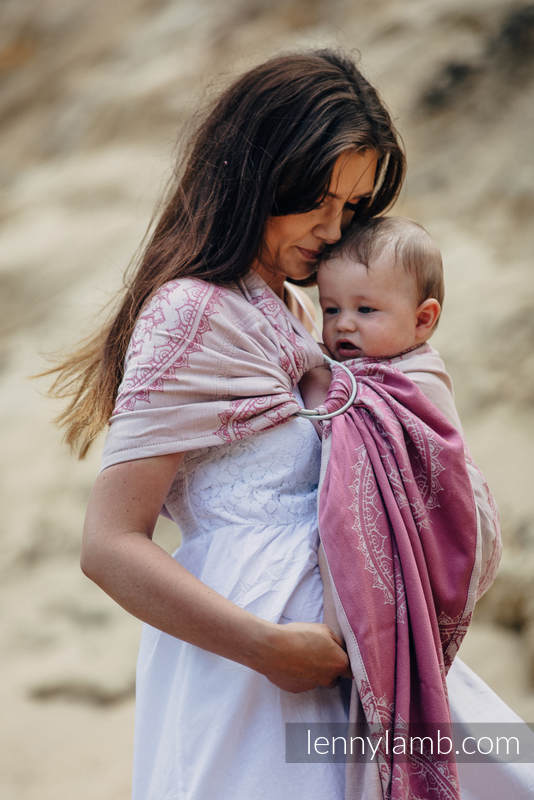 Żakardowa chusta kółkowa do noszenia dzieci, bawełna - PIASKOWE MUSZELKI - ramię bez zakładek - long 2.1m (drugi gatunek) #babywearing