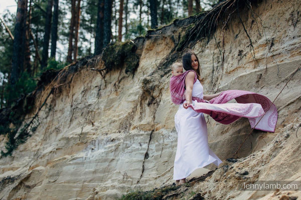 Żakardowa chusta do noszenia dzieci, bawełna - PIASKOWE MUSZELKI, rozmiar S #babywearing