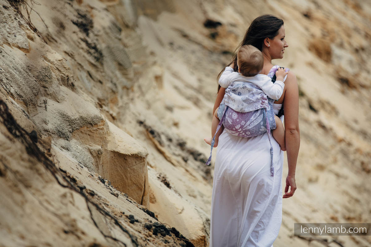 Lenny Buckle Onbuhimo baby carrier, standard size, jacquard weave (60% cotton 40% linen) - DRAGONFLY LAVENDER #babywearing