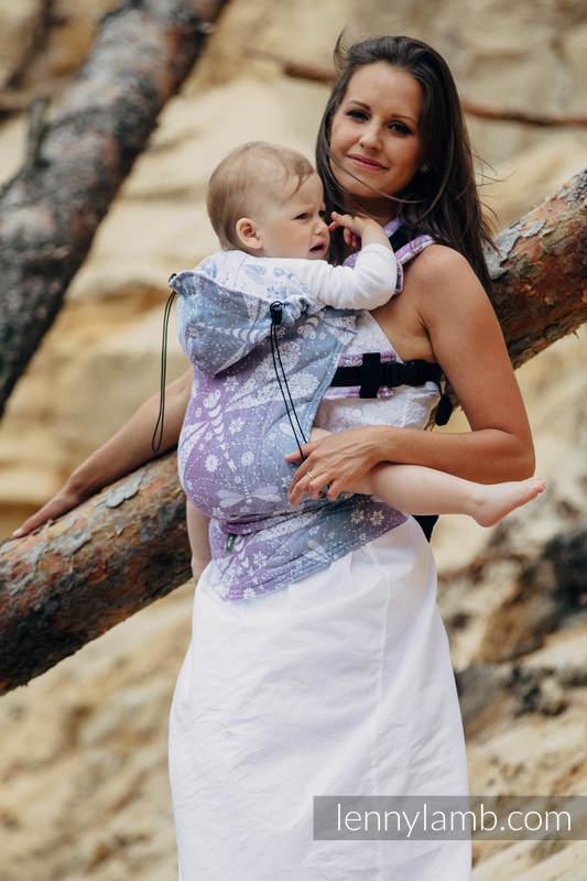 Ergonomische Tragehilfe, Größe Baby, Jacquardwebung, 60% Baumwolle, 40% Leinen - DRAGONFLY LAVENDER - Zweite Generation (grad B) #babywearing