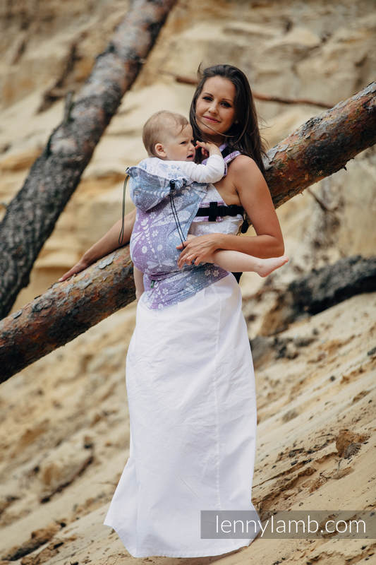 Ergonomic Carrier, Toddler Size, jacquard weave 60% cotton 40% linen - wrap conversion from DRAGONFLY LAVENDER, Second Generation #babywearing