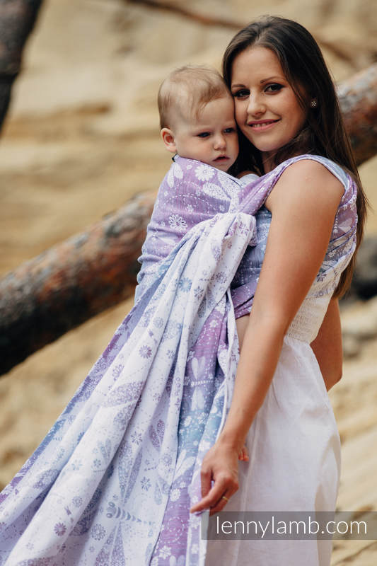 Baby Wrap, Jacquard Weave (60% cotton, 40% linen) - DRAGONFLY LAVENDER - size M (grade B) #babywearing