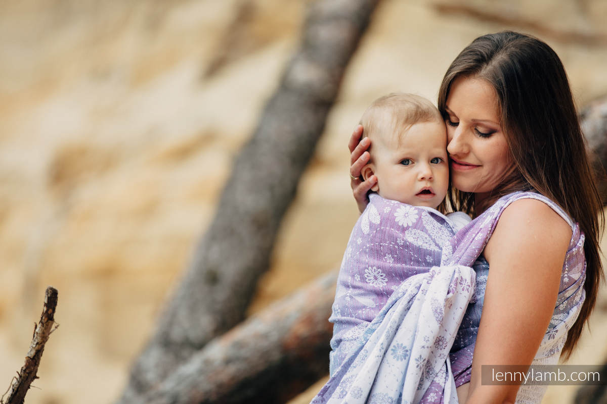 Baby Wrap, Jacquard Weave (60% cotton, 40% linen) - DRAGONFLY LAVENDER - size XS (grade B) #babywearing