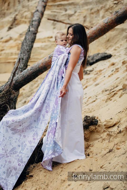 Fular, tejido jacquard (60% algodón, 40% lino) - DRAGONFLY LAVENDER - talla XS (grado B) #babywearing