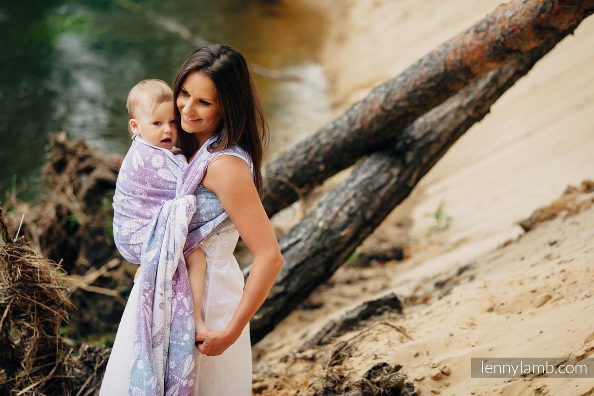 Baby Wrap, Jacquard Weave (60% cotton, 40% linen) - DRAGONFLY LAVENDER - size L #babywearing