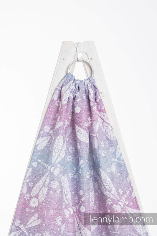 Ringsling, Jacquard Weave, with gathered shoulder (60% cotton 40% linen) - DRAGONFLY LAVENDER - standard 1.8m #babywearing