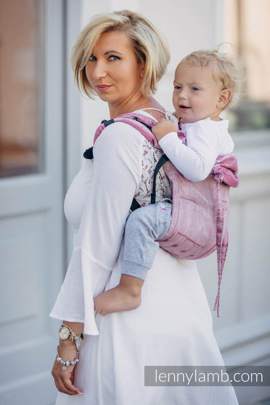Lenny Buckle Onbuhimo baby carrier, standard size, jacquard weave (60% cotton 40% linen) - ENCHANTED SYMPHONY #babywearing