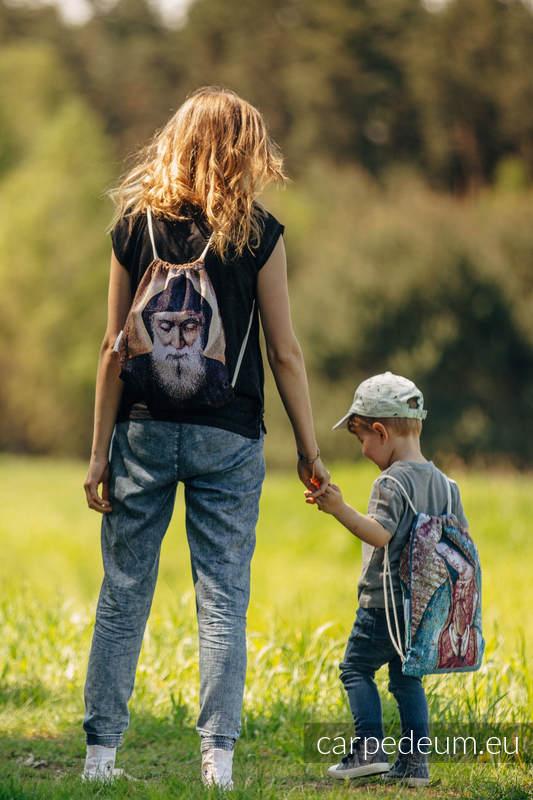 Plecak/worek z materiału żakardowego, (100% bawełna) - CHARBEL MAKHLOUF - uniwersalny rozmiar 35cmx45cm #babywearing