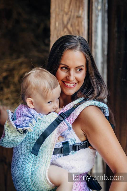 Nosidełko Ergonomiczne z tkaniny żakardowej, 80% bawełna, 20% bambus , Baby Size, LITTLE LOVE - ZAPACH LATA , Druga Generacja #babywearing