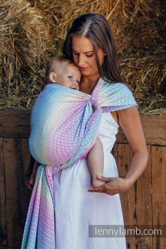 Baby Wrap, Jacquard Weave (80% cotton, 20% bamboo) - LITTLE LOVE - SCENT OF SUMMER - size XS #babywearing