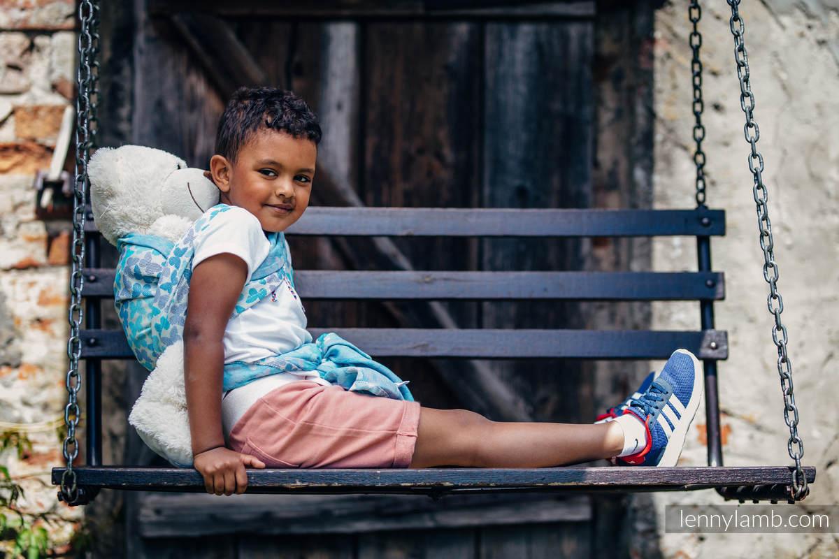 Doll Sling, Jacquard Weave, 100% cotton - BUTTERFLY WINGS BLUE  #babywearing