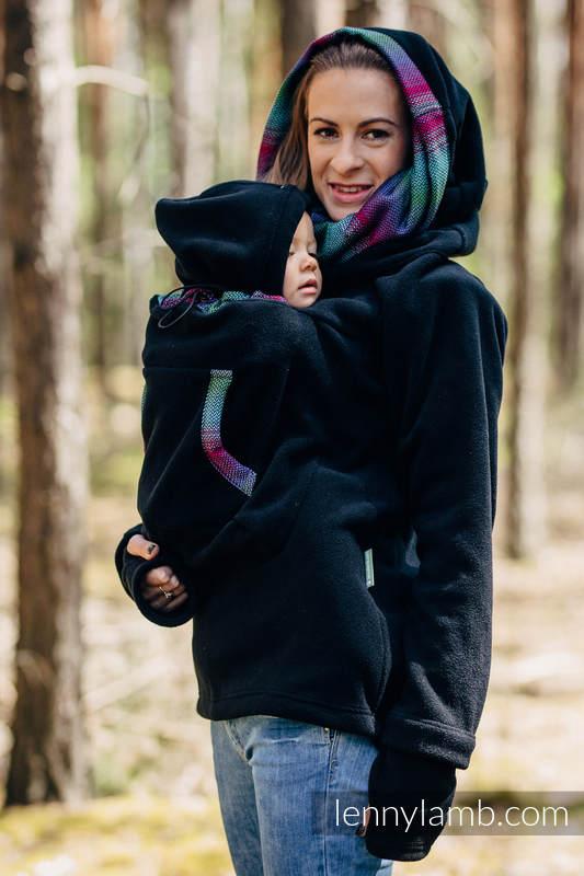 Fleece Babywearing Sweatshirt 2.0 - size 3XL - black with Little Herringbone Impression Dark #babywearing