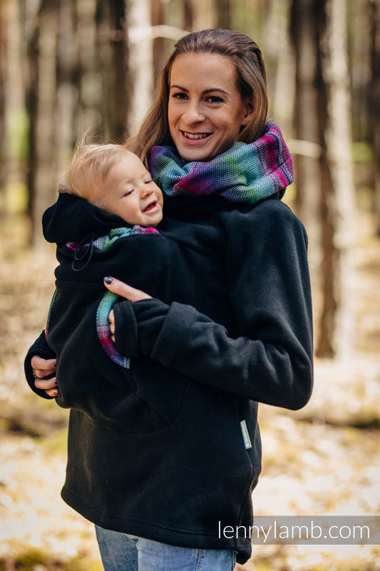 Fleece Babywearing Sweatshirt 2.0 - size M - black with Little Herringbone Impression Dark #babywearing