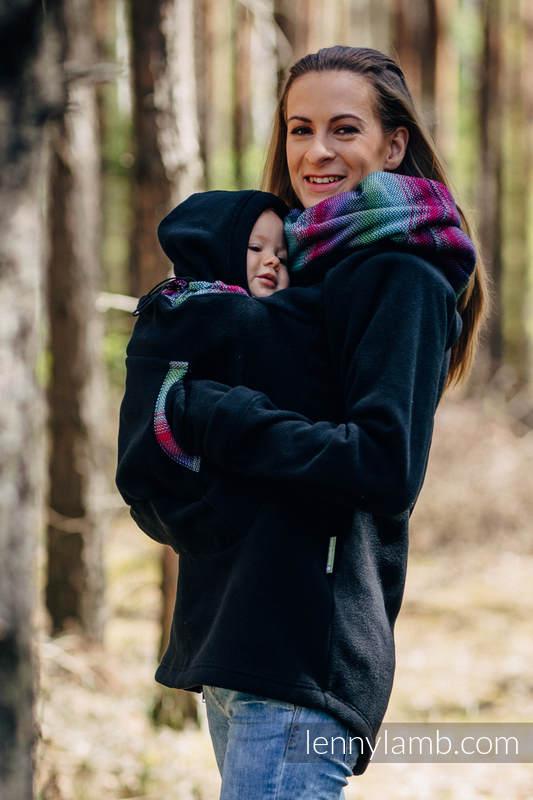 Fleece Tragepullover 2.0 - Größe 5XL - schwarz mit Little Herringbone Impression Dark #babywearing