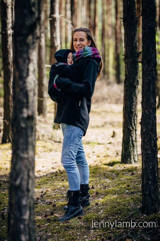 Fleece Babywearing Sweatshirt 2.0 - size 4XL - black with Little Herringbone Impression Dark #babywearing