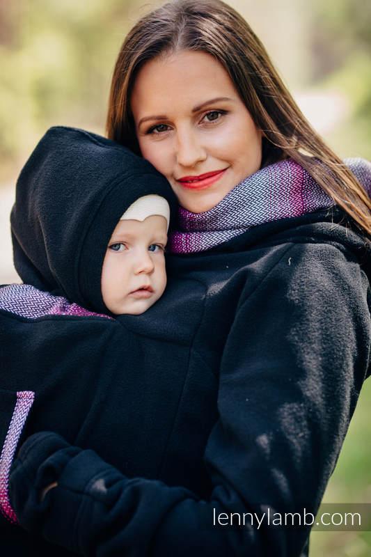 Sudaderas de porteo de polar 2.0 - talla XL - Negro con Little Herringbone Inspiration #babywearing