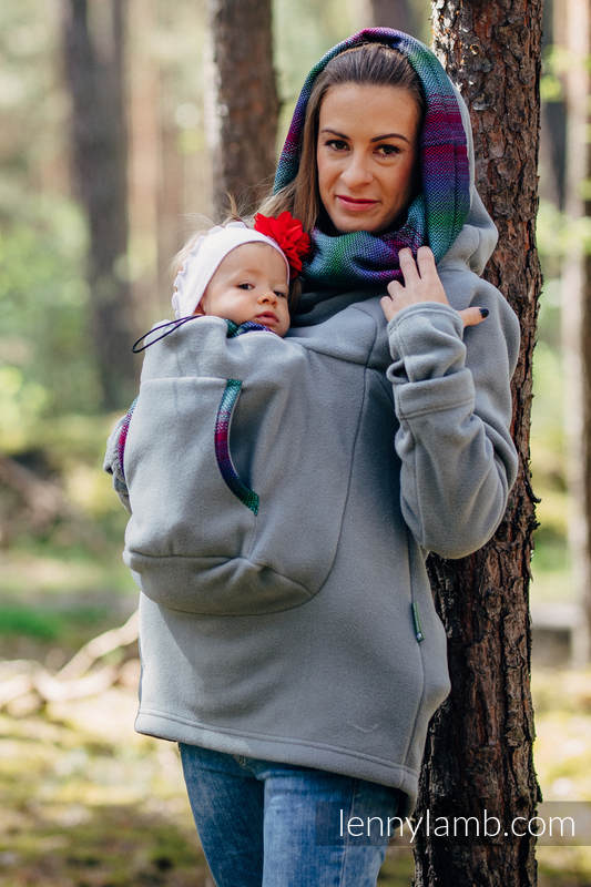 Fleece Babywearing Sweatshirt 2.0 - size M - grey with Little Herringbone Impression Dark (grade B) #babywearing