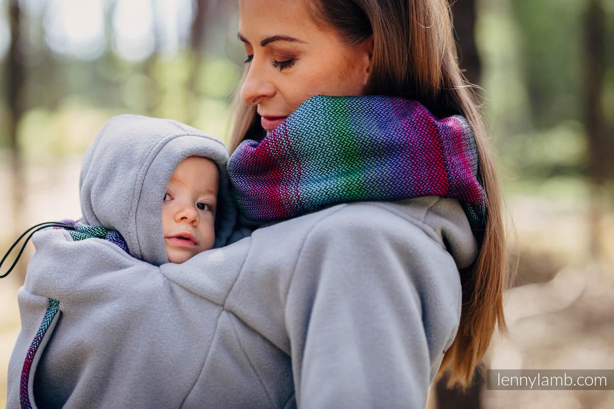 Polarowa bluza do noszenia dzieci 2.0 - rozmiar M - szara z Małą Jodełką Impresją Dark (drugi gatunek) #babywearing