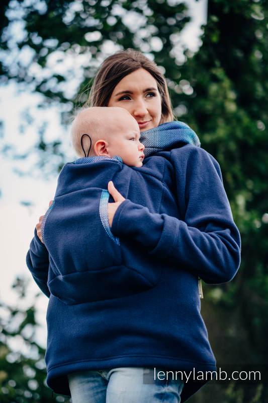 Fleece Babywearing Sweatshirt 2.0 - size M - navy blue with Little Herringbone Illusion #babywearing