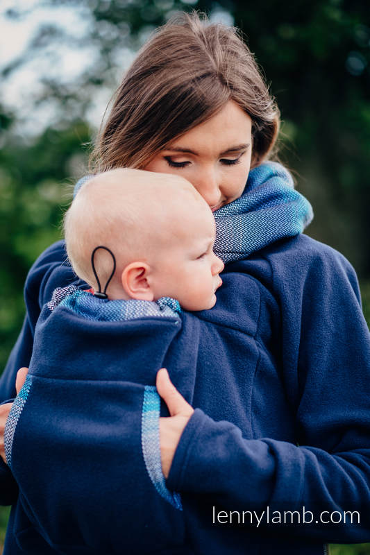 Fleece Babywearing Sweatshirt 2.0 - size 3XL - navy blue with Little Herringbone Illusion #babywearing