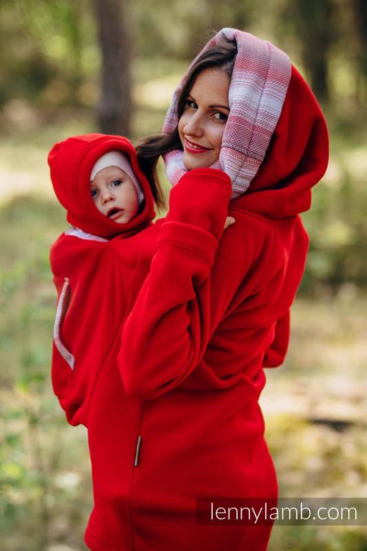 Fleece Babywearing Sweatshirt 2.0 - size 3XL - red with Little Herringbone Elegance #babywearing