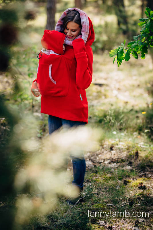 Fleece Babywearing Sweatshirt 2.0 - size 4XL - red with Little Herringbone Elegance #babywearing