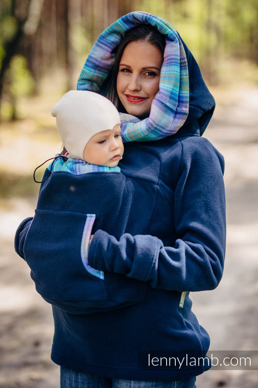 Fleece Babywearing Sweatshirt 2.0 - size 3XL - navy blue with Little Herringbone Petrea #babywearing